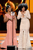 Actresses Uzo Aduba and Tracee Ellis Ross speak onstage at the 46th Annual NAACP Image Awards on February 6 2015 in Pasadena California