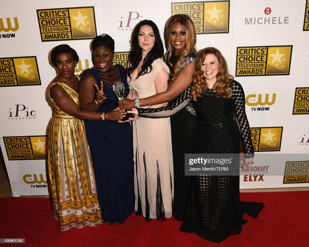 Actresses <a gi-track='captionPersonalityLinkClicked' href=/galleries/search?phrase=Uzo+Aduba&family=editorial&specificpeople=7042411 ng-click='$event.stopPropagation()'>Uzo Aduba</a>, <a gi-track='captionPersonalityLinkClicked' href=/galleries/search?phrase=Danielle+Brooks&family=editorial&specificpeople=8868624 ng-click='$event.stopPropagation()'>Danielle Brooks</a>, <a gi-track='captionPersonalityLinkClicked' href=/galleries/search?phrase=Laura+Prepon&family=editorial&specificpeople=211299 ng-click='$event.stopPropagation()'>Laura Prepon</a>, <a gi-track='captionPersonalityLinkClicked' href=/galleries/search?phrase=Laverne+Cox&family=editorial&specificpeople=5848606 ng-click='$event.stopPropagation()'>Laverne Cox</a> and <a gi-track='captionPersonalityLinkClicked' href=/galleries/search?phrase=Natasha+Lyonne&family=editorial&specificpeople=1537481 ng-click='$event.stopPropagation()'>Natasha Lyonne</a>, winners of Best Comedy Series 'Orange Is the New Black', pose in the press room during the 4th Annual Critics' Choice Television Awards at The Beverly Hilton Hotel on June 19, 2014 in Beverly Hills, California.