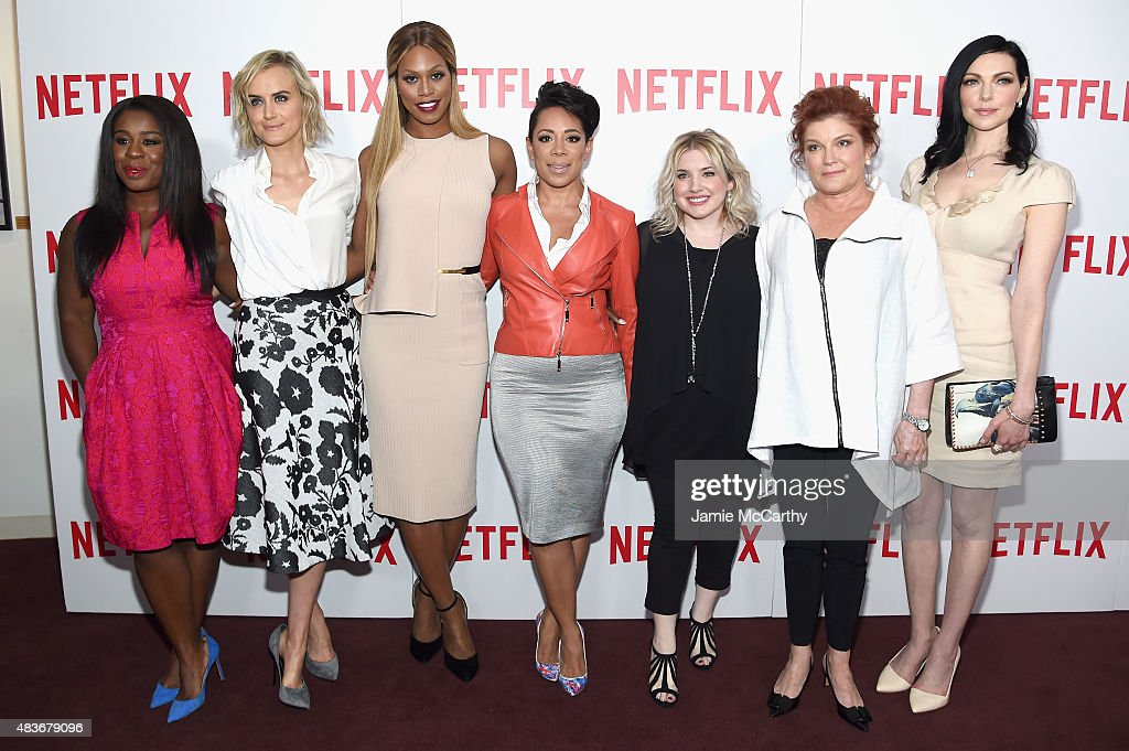 Actresses Uzo Aduba Taylor Schilling Laverne Cox and Selenis Leyva casting director Jennifer Euston actresses Kate Mulgrew and Laura Prepon attend...