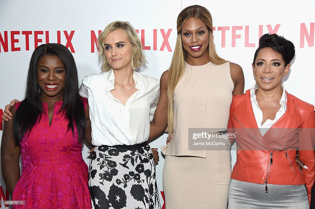 Actresses Uzo Aduba, Taylor Schilling, Laverne Cox and Selenis Leyva attend the 'Orange Is The New Black' FYC screening at DGA Theater on August 11, 2015 in New York City.