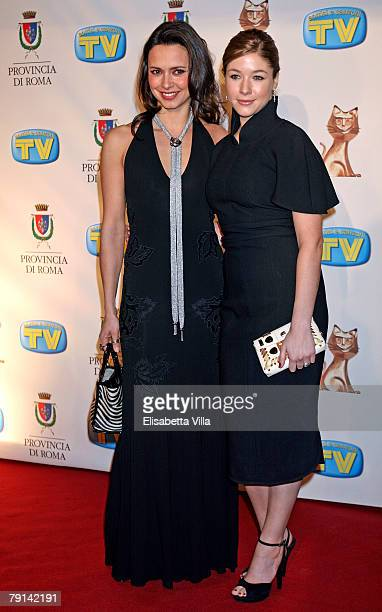 Actresses Valentina Pace and Sara Felberbaum arrive at the Italian TV Awards ''Telegatti'' at the Auditorium Conciliazione on January 20 2008 in Rome...