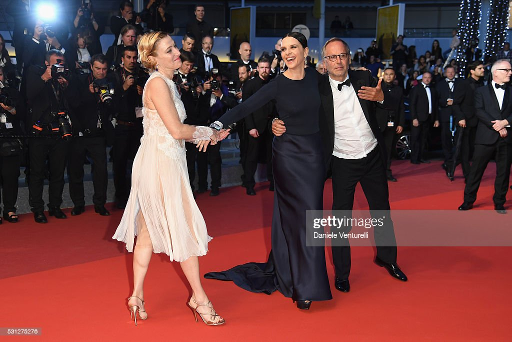 Actresses Valeria Bruni Tedeschi, Juliette Binoche and Fabrice Luchini attend the 'Slack Bay (Ma Loute)' premiere during the 69th annual Cannes Film Festival at the Palais des Festivals on May 13, 2016 in Cannes, France.
