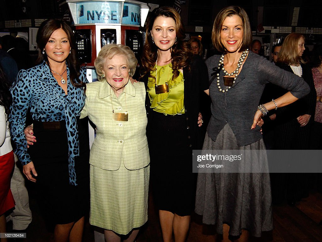 Actresses Valerie Bertinelli, Betty White, Jane Leeves and Wendie Malick visit the trading floor after ringing the opening bell at the New York Stock Exchange on June 15, 2010 in New York City.