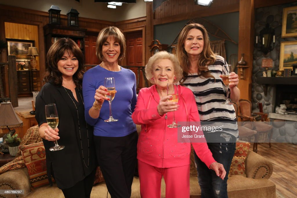 Actresses Valerie Bertinelli, Wendie Malick, Betty White and Jane Leeves pose onstage during 'Hot in Cleveland' LIVE! at the CBS Studio Center on March 26, 2014 in Studio City, California.