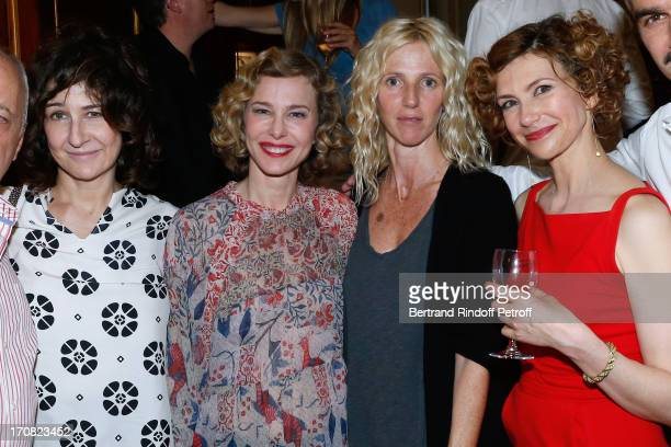 Actresses Valerie Lemercier Pascale Arbillot Sandrine Kiberlain and Florence Pernel after the last performance of the play 'Quadrille' by Sacha...