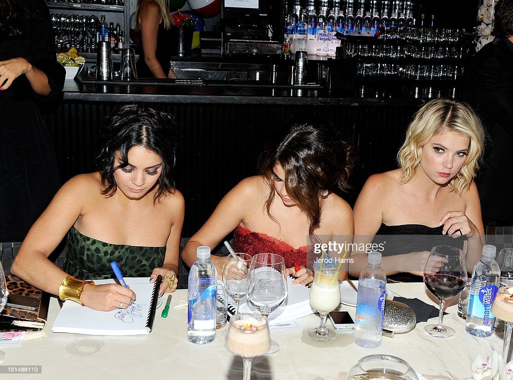 Actresses Vanessa Hodgens, Selena Gomez and Ashley Benson attend a dinner for the cast of 'Spring Breakers' hosted by vitaminwater during the 2012 Toronto International Film Festival at Brassaii on September 7, 2012 in Toronto, Canada.