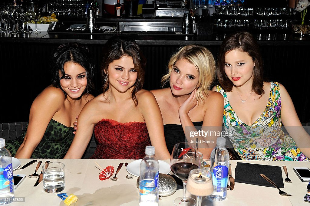 Actresses Vanessa Hodgens, <a gi-track='captionPersonalityLinkClicked' href=/galleries/search?phrase=Selena+Gomez&family=editorial&specificpeople=4295969 ng-click='$event.stopPropagation()'>Selena Gomez</a>, <a gi-track='captionPersonalityLinkClicked' href=/galleries/search?phrase=Ashley+Benson&family=editorial&specificpeople=594114 ng-click='$event.stopPropagation()'>Ashley Benson</a> and <a gi-track='captionPersonalityLinkClicked' href=/galleries/search?phrase=Rachel+Korine&family=editorial&specificpeople=4495798 ng-click='$event.stopPropagation()'>Rachel Korine</a> attend a dinner for the cast of 'Spring Breakers' hosted by vitaminwater during the 2012 Toronto International Film Festival at Brassaii on September 7, 2012 in Toronto, Canada.