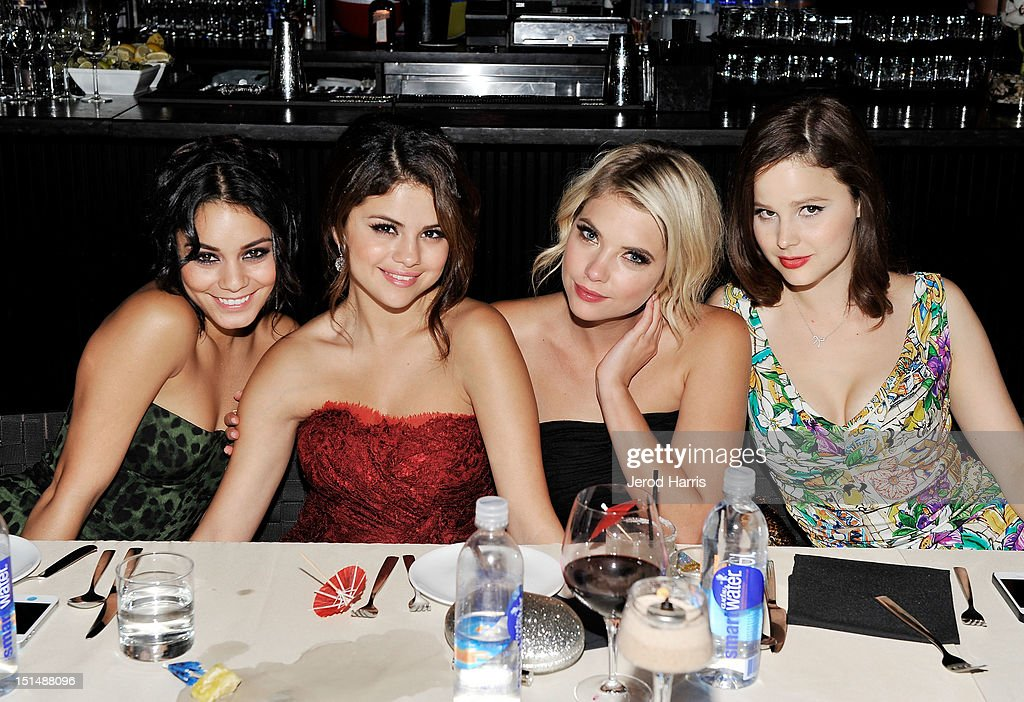 Actresses Vanessa Hodgens, Selena Gomez, Ashley Benson and Rachel Korine attend a dinner for the cast of 'Spring Breakers' hosted by vitaminwater during the 2012 Toronto International Film Festival at Brassaii on September 7, 2012 in Toronto, Canada.