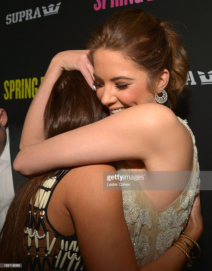 Actresses Vanessa Hudgens (L) and <a gi-track='captionPersonalityLinkClicked' href=/galleries/search?phrase=Ashley+Benson&family=editorial&specificpeople=594114 ng-click='$event.stopPropagation()'>Ashley Benson</a> attend the 'Spring Breakers' Los Angeles Premiere at ArcLight Hollywood on March 14, 2013 in Hollywood, California.