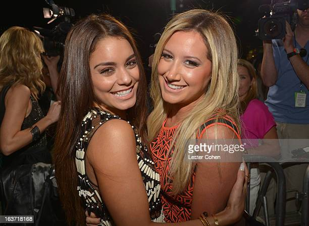 Actresses Vanessa Hudgens and Ashley Tisdale attend the 'Spring Breakers' Los Angeles Premiere at ArcLight Hollywood on March 14 2013 in Hollywood...