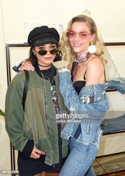 Actresses Vanessa Hudgens and Jaime King attend the Hudson Jeans FYF Fest Style Lounge at Exposition Park on July 23 2017 in Los Angeles California