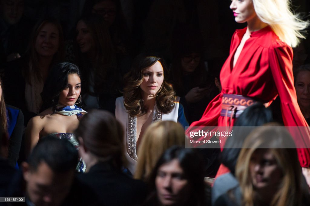 Actresses Vanessa Hudgens (L) and <a gi-track='captionPersonalityLinkClicked' href=/galleries/search?phrase=Katharine+McPhee&family=editorial&specificpeople=581492 ng-click='$event.stopPropagation()'>Katharine McPhee</a> attend Diane Von Furstenberg during Fall 2013 Mercedes-Benz Fashion Week at The Theatre at Lincoln Center on February 10, 2013 in New York City.