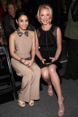 Actresses Vanessa Hudgens and Katherine Heigl attend the TRESemme At Jenny Packham Fall 2013 fashion show during MercedesBenz Fashion Week at The...