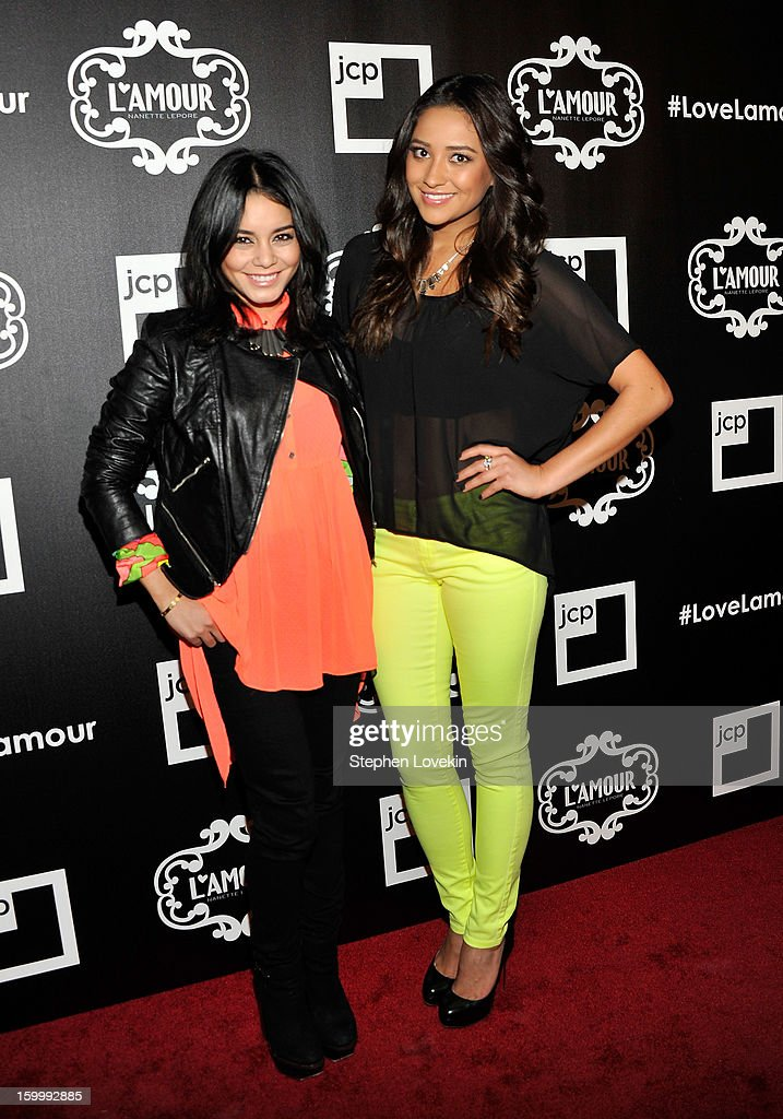 Actresses Vanessa Hudgens and Shay Mitchell attend the L'Amour by Nanette Lepore for JCPenney launch party at Good Units at Hudson Hotel on January 24, 2013 in New York City.