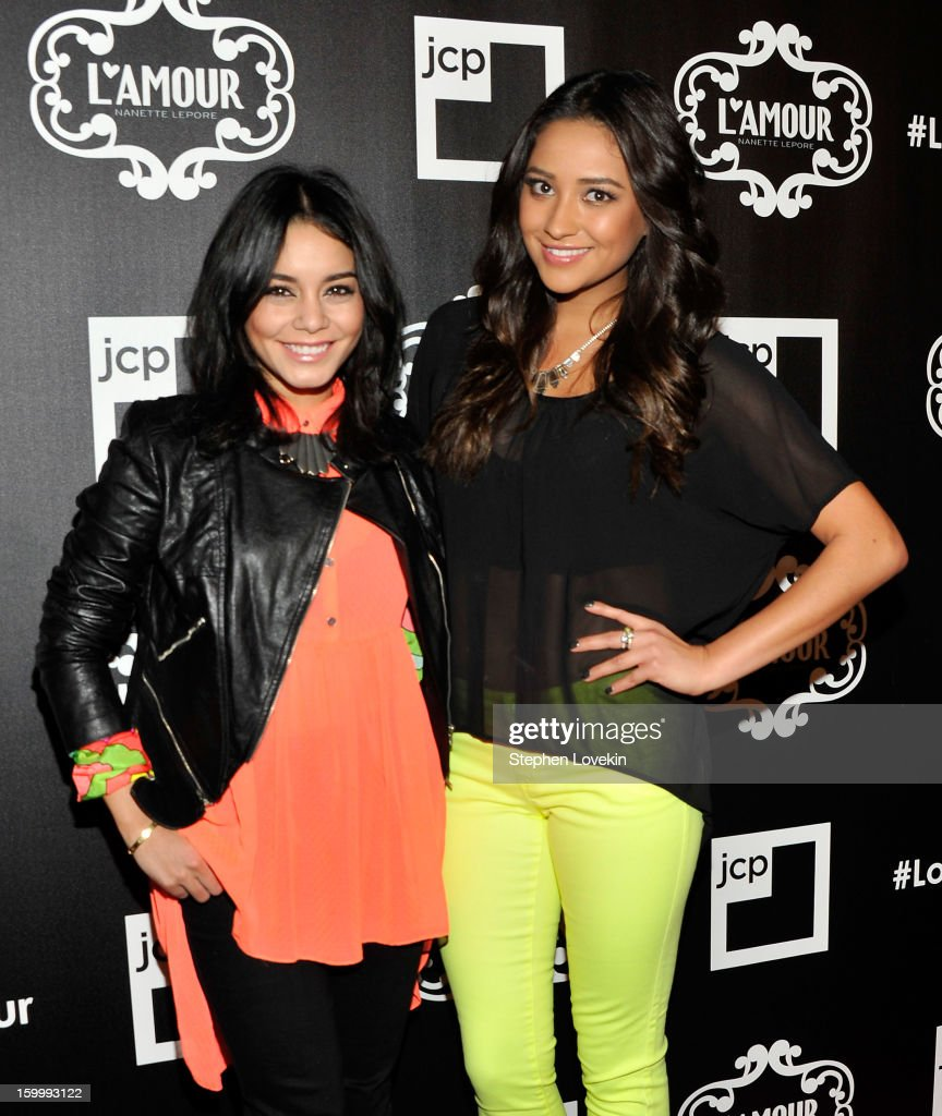 Actresses Vanessa Hudgens and <a gi-track='captionPersonalityLinkClicked' href=/galleries/search?phrase=Shay+Mitchell&family=editorial&specificpeople=6886213 ng-click='$event.stopPropagation()'>Shay Mitchell</a> attend the L'Amour by Nanette Lepore for JCPenney launch party at Good Units at Hudson Hotel on January 24, 2013 in New York City.