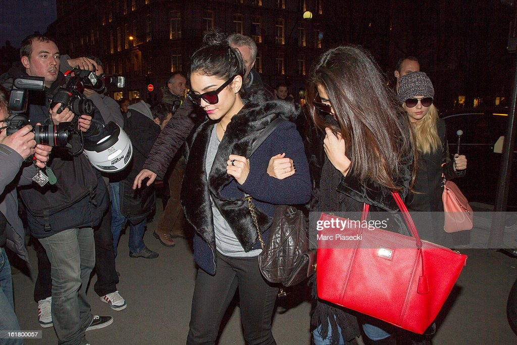 Actresses Vanessa Hudgens, <a gi-track='captionPersonalityLinkClicked' href=/galleries/search?phrase=Selena+Gomez&family=editorial&specificpeople=4295969 ng-click='$event.stopPropagation()'>Selena Gomez</a> and <a gi-track='captionPersonalityLinkClicked' href=/galleries/search?phrase=Ashley+Benson&family=editorial&specificpeople=594114 ng-click='$event.stopPropagation()'>Ashley Benson</a> arrive at the 'L'Avenue' restaurant on February 16, 2013 in Paris, France.