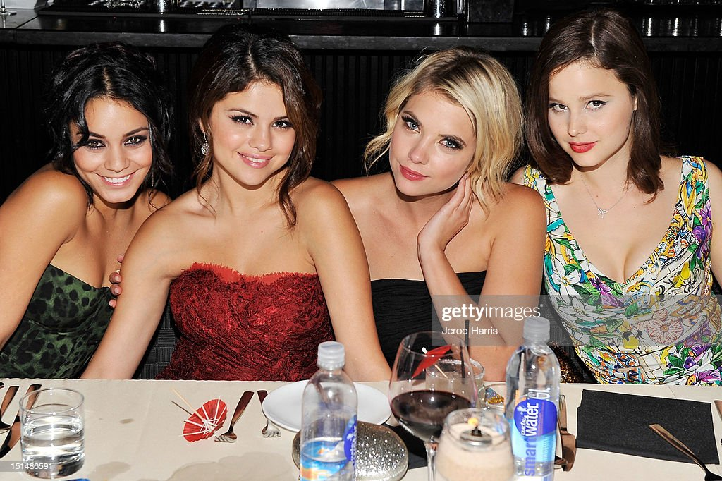 Actresses Vanessa Hudgens, <a gi-track='captionPersonalityLinkClicked' href=/galleries/search?phrase=Selena+Gomez&family=editorial&specificpeople=4295969 ng-click='$event.stopPropagation()'>Selena Gomez</a>, <a gi-track='captionPersonalityLinkClicked' href=/galleries/search?phrase=Ashley+Benson&family=editorial&specificpeople=594114 ng-click='$event.stopPropagation()'>Ashley Benson</a> and <a gi-track='captionPersonalityLinkClicked' href=/galleries/search?phrase=Rachel+Korine&family=editorial&specificpeople=4495798 ng-click='$event.stopPropagation()'>Rachel Korine</a> attend a dinner for the cast of 'Spring Breakers' hosted by vitaminwater during the 2012 Toronto International Film Festival at Brassaii on September 7, 2012 in Toronto, Canada.