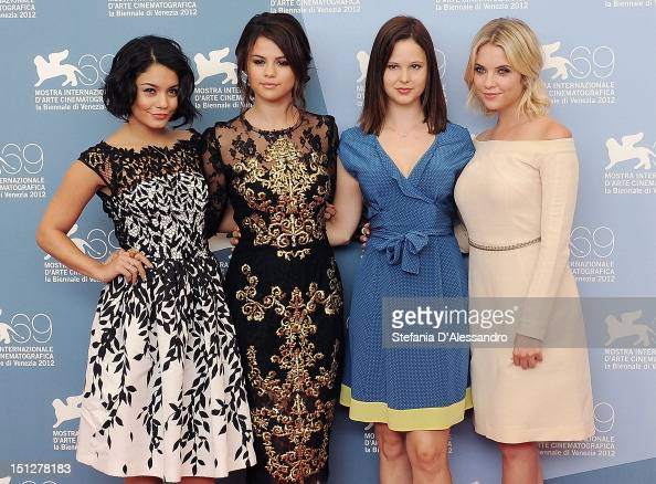 Actresses Vanessa Hudgens Selena Gomez Rachel Korine and Ashley Benson attend 'Spring Breakers' Photocall at the 69th Venice Film Festival on...