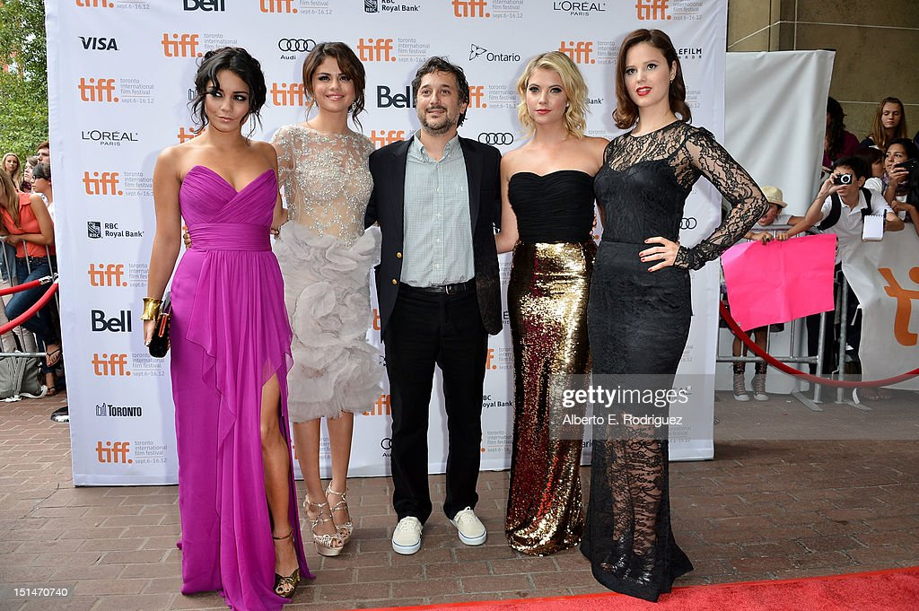 Actresses Vanessa Hudgens, Selena Gomez, writer/director Harmony Korine and actresses Ashley Benson and Rachel Korine attend the'Spring Breakers' premiere during the 2012 Toronto International Film Festival at Ryerson Theatre on September 7, 2012 in Toronto, Canada.