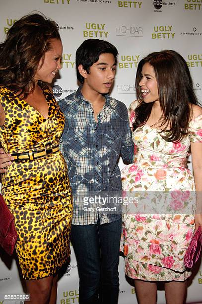Actresses Vanessa Williams and America Ferrera and actor Mark Indelicato attend the Diamond Information Center's Hosting of the Ugly Betty Premiere...