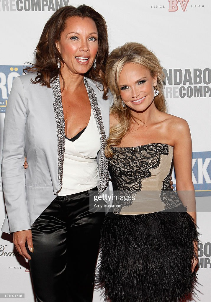 Actresses Vanessa Williams and <a gi-track='captionPersonalityLinkClicked' href=/galleries/search?phrase=Kristin+Chenoweth&family=editorial&specificpeople=207096 ng-click='$event.stopPropagation()'>Kristin Chenoweth</a> attend The Roundabout Theatre 2012 Spring Gala 'From Screen to Stage' dinner and auction at the Hammerstein Ballroom on March 12, 2012 in New York City.