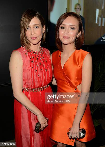 Actresses Vera Farmiga and Olivia Cooke attend AE's 'Bates Motel' and 'Those Who Kill' Premiere Party at Warwick on February 26 2014 in Hollywood...