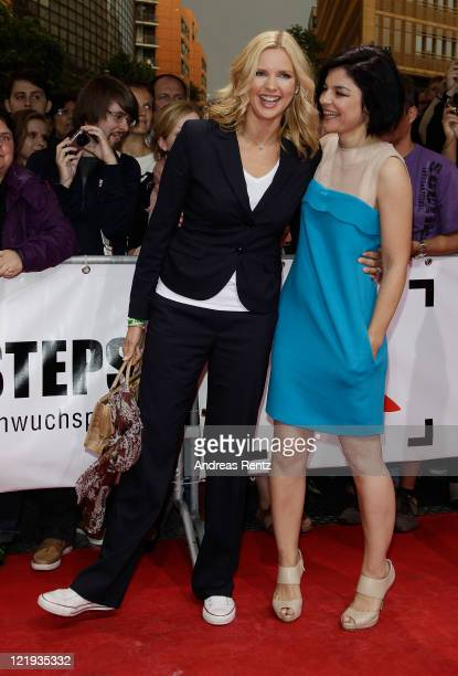 Actresses Veronica Ferres and Jasmin Tabatabai attend the First Steps Award 2011 at the Theater Am Potsdamer Platz on August 23 2011 in Berlin Germany