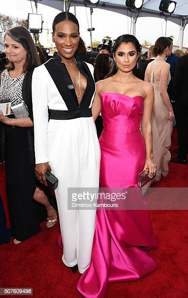 Actresses Vicky Jeudy and Diane Guerrero attend The 22nd Annual Screen Actors Guild Awards at The Shrine Auditorium on January 30 2016 in Los Angeles...