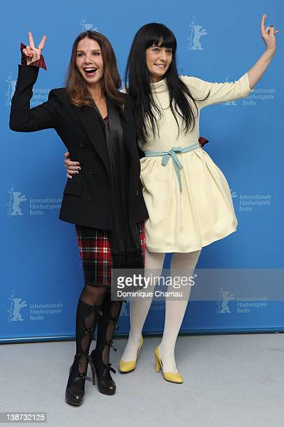Actresses Victoria Abril and Labina Mitevska attend the 'The Woman Who Brushed Off Her Tears' Photocall during day three of the 62nd Berlin...