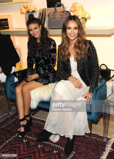 Actresses Victoria Justice and Jessica Alba attend Rebecca Minkoff fashion show during New York Fashion Week at Rebecca Minkoff on September 9 2017...