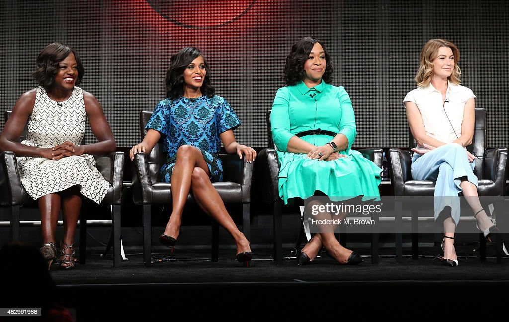 Actresses Viola Davis Kerry Washington executive producer Shonda Rhimes and actress Ellen Pompeo speak onstage during the 'Grey's Anatomy' 'Scandal'...