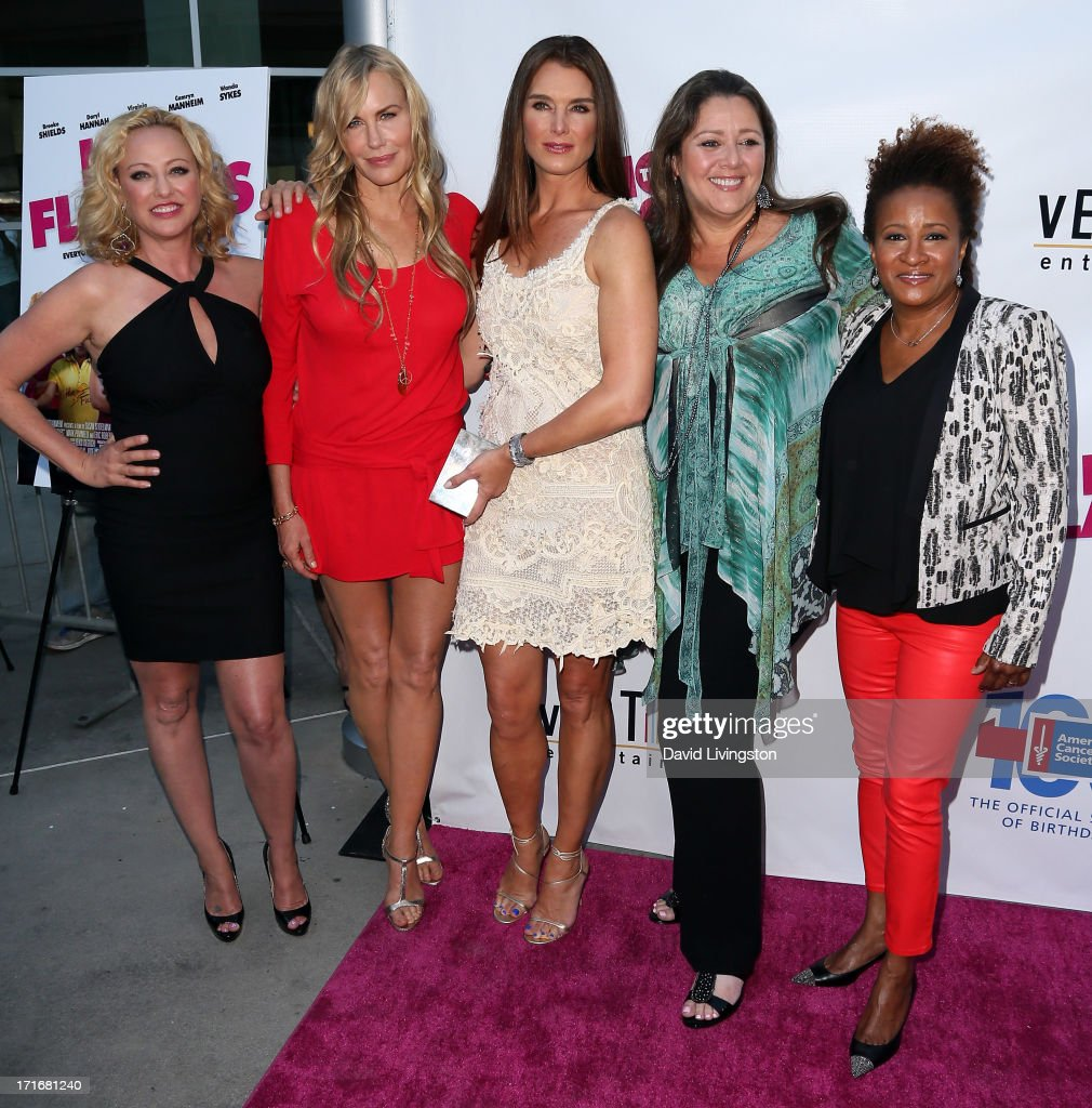 Actresses <a gi-track='captionPersonalityLinkClicked' href=/galleries/search?phrase=Virginia+Madsen&family=editorial&specificpeople=202232 ng-click='$event.stopPropagation()'>Virginia Madsen</a>, <a gi-track='captionPersonalityLinkClicked' href=/galleries/search?phrase=Daryl+Hannah&family=editorial&specificpeople=201860 ng-click='$event.stopPropagation()'>Daryl Hannah</a>, <a gi-track='captionPersonalityLinkClicked' href=/galleries/search?phrase=Brooke+Shields&family=editorial&specificpeople=202197 ng-click='$event.stopPropagation()'>Brooke Shields</a>, <a gi-track='captionPersonalityLinkClicked' href=/galleries/search?phrase=Camryn+Manheim&family=editorial&specificpeople=204200 ng-click='$event.stopPropagation()'>Camryn Manheim</a> and <a gi-track='captionPersonalityLinkClicked' href=/galleries/search?phrase=Wanda+Sykes&family=editorial&specificpeople=208075 ng-click='$event.stopPropagation()'>Wanda Sykes</a> attend the premiere of 'The Hot Flashes' at ArcLight Cinemas on June 27, 2013 in Hollywood, California.