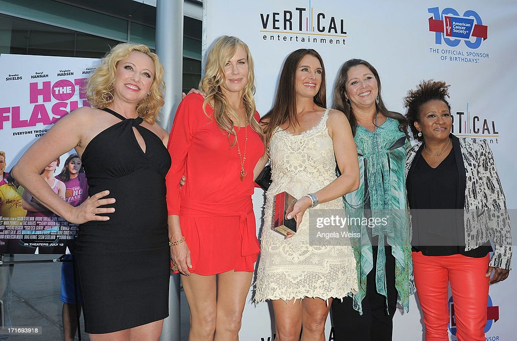 Actresses <a gi-track='captionPersonalityLinkClicked' href=/galleries/search?phrase=Virginia+Madsen&family=editorial&specificpeople=202232 ng-click='$event.stopPropagation()'>Virginia Madsen</a>, <a gi-track='captionPersonalityLinkClicked' href=/galleries/search?phrase=Daryl+Hannah&family=editorial&specificpeople=201860 ng-click='$event.stopPropagation()'>Daryl Hannah</a>, <a gi-track='captionPersonalityLinkClicked' href=/galleries/search?phrase=Brooke+Shields&family=editorial&specificpeople=202197 ng-click='$event.stopPropagation()'>Brooke Shields</a>, <a gi-track='captionPersonalityLinkClicked' href=/galleries/search?phrase=Camryn+Manheim&family=editorial&specificpeople=204200 ng-click='$event.stopPropagation()'>Camryn Manheim</a> and <a gi-track='captionPersonalityLinkClicked' href=/galleries/search?phrase=Wanda+Sykes&family=editorial&specificpeople=208075 ng-click='$event.stopPropagation()'>Wanda Sykes</a> arrive at the premiere of 'The Hot Flashes' at ArcLight Cinemas on June 27, 2013 in Hollywood, California.
