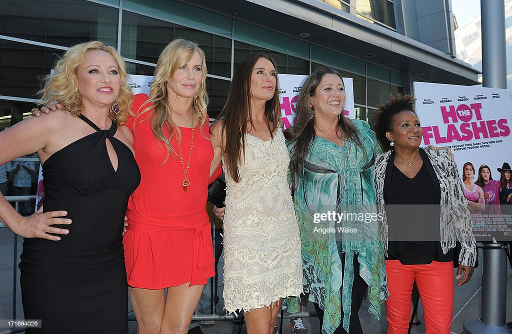 Actresses Virginia Madsen, Daryl Hannah, Brooke Shields, Camryn Manheim and Wanda Sykes arrive at the premiere of 'The Hot Flashes' at ArcLight Cinemas on June 27, 2013 in Hollywood, California.