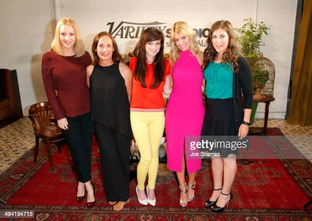 Actresses Wendi McLendonCovey Laurie Metcalf Ashley Rickards Beth Behrs and Mayim Bialik attend the Variety Studio powered by Samsung Galaxy on May...
