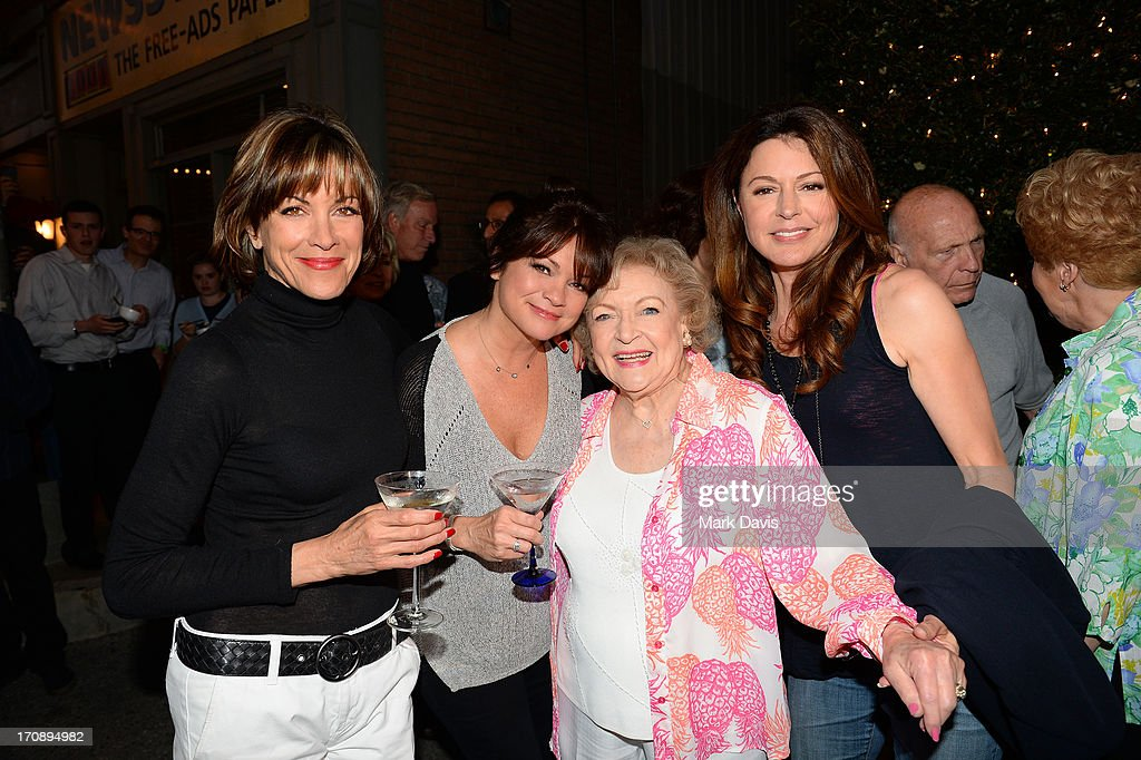 Actresses <a gi-track='captionPersonalityLinkClicked' href=/galleries/search?phrase=Wendie+Malick&family=editorial&specificpeople=206371 ng-click='$event.stopPropagation()'>Wendie Malick</a>, <a gi-track='captionPersonalityLinkClicked' href=/galleries/search?phrase=Valerie+Bertinelli&family=editorial&specificpeople=790177 ng-click='$event.stopPropagation()'>Valerie Bertinelli</a>, <a gi-track='captionPersonalityLinkClicked' href=/galleries/search?phrase=Betty+White&family=editorial&specificpeople=213602 ng-click='$event.stopPropagation()'>Betty White</a> and <a gi-track='captionPersonalityLinkClicked' href=/galleries/search?phrase=Jane+Leeves&family=editorial&specificpeople=213840 ng-click='$event.stopPropagation()'>Jane Leeves</a> attend the after party for TV Land's 'Hot in Cleveland' Live Show on June 19, 2013 in Studio City, California. (TV Land's Hot in Cleveland goes LIVE at 10:00pm ET in the first LIVE broadcast in the channel's history. <a gi-track='captionPersonalityLinkClicked' href=/galleries/search?phrase=Betty+White&family=editorial&specificpeople=213602 ng-click='$event.stopPropagation()'>Betty White</a>, <a gi-track='captionPersonalityLinkClicked' href=/galleries/search?phrase=Jane+Leeves&family=editorial&specificpeople=213840 ng-click='$event.stopPropagation()'>Jane Leeves</a>, <a gi-track='captionPersonalityLinkClicked' href=/galleries/search?phrase=Wendie+Malick&family=editorial&specificpeople=206371 ng-click='$event.stopPropagation()'>Wendie Malick</a> and <a gi-track='captionPersonalityLinkClicked' href=/galleries/search?phrase=Valerie+Bertinelli&family=editorial&specificpeople=790177 ng-click='$event.stopPropagation()'>Valerie Bertinelli</a> are joined by guest stars William Shatner (Star Trek), Shirley Jones (The Partridge Family), Daniel Pudi (Community) and Brian Baumgartner (The Office).