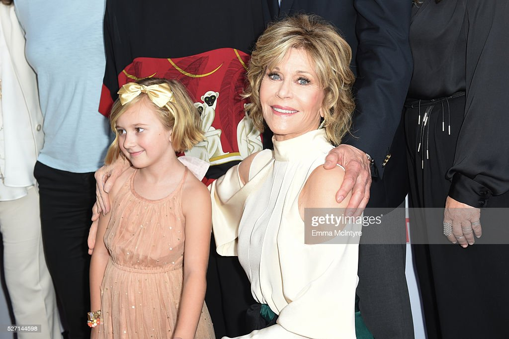 Actresses Willa Miel Pogue (L) and <a gi-track='captionPersonalityLinkClicked' href=/galleries/search?phrase=Jane+Fonda&family=editorial&specificpeople=202174 ng-click='$event.stopPropagation()'>Jane Fonda</a> arrive at the Netflix Original Series 'Grace & Frankie' Season 2 premiere at Harmony Gold on May 1, 2016 in Los Angeles, California.