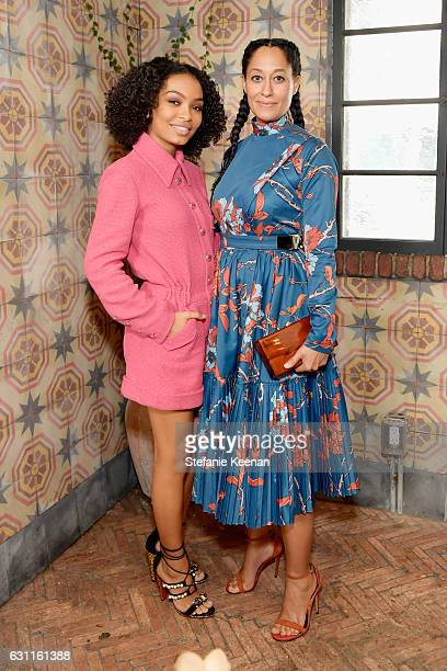 Actresses Yara Shahidi and Tracee Ellis Ross attend Lynn Hirschberg Celebrates W Magazine's It Girls with Stuart Weitzman at AOC on January 7 2017 in...