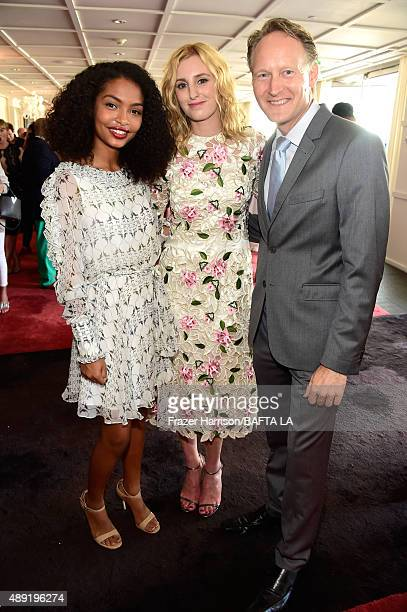 Actresses Yara Shahidi Laura Carmichael and British Consul General in Los Angeles Chris O'Connor attend the 2015 BAFTA Los Angeles TV Tea at SLS...
