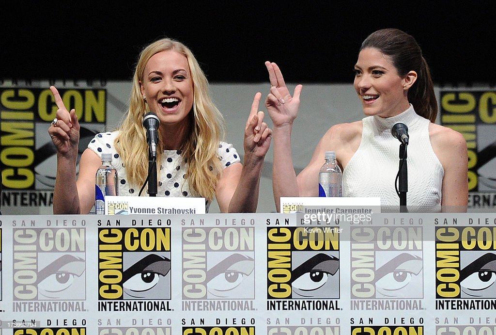 Actresses <a gi-track='captionPersonalityLinkClicked' href=/galleries/search?phrase=Yvonne+Strahovski&family=editorial&specificpeople=4387578 ng-click='$event.stopPropagation()'>Yvonne Strahovski</a> (L) and <a gi-track='captionPersonalityLinkClicked' href=/galleries/search?phrase=Jennifer+Carpenter&family=editorial&specificpeople=595643 ng-click='$event.stopPropagation()'>Jennifer Carpenter</a> speak onstage at Showtime's 'Dexter' panel during Comic-Con International 2013 at San Diego Convention Center on July 18, 2013 in San Diego, California.