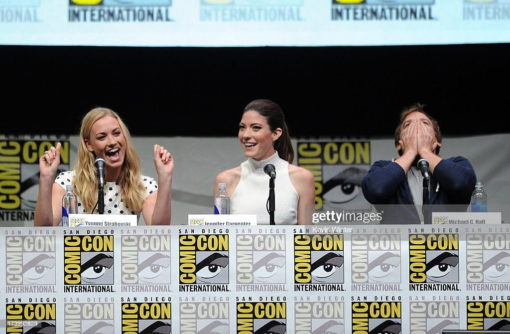 Actresses <a gi-track='captionPersonalityLinkClicked' href=/galleries/search?phrase=Yvonne+Strahovski&family=editorial&specificpeople=4387578 ng-click='$event.stopPropagation()'>Yvonne Strahovski</a>, <a gi-track='captionPersonalityLinkClicked' href=/galleries/search?phrase=Jennifer+Carpenter&family=editorial&specificpeople=595643 ng-click='$event.stopPropagation()'>Jennifer Carpenter</a>, and actor <a gi-track='captionPersonalityLinkClicked' href=/galleries/search?phrase=Michael+C.+Hall+-+Actor&family=editorial&specificpeople=680229 ng-click='$event.stopPropagation()'>Michael C. Hall</a> speak onstage at Showtime's 'Dexter' panel during Comic-Con International 2013 at San Diego Convention Center on July 18, 2013 in San Diego, California.
