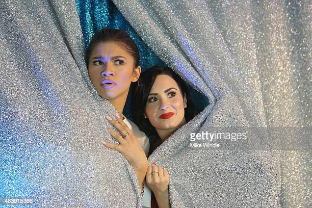 Actresses Zendaya and Demi Lovato attend the 2nd Annual unite4humanity presented by ALCATEL ONETOUCH at the Beverly Hilton Hotel on February 19 2015...