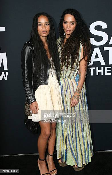 Actresses Zoe Kravitz and Lisa Bonet attend Saint Laurent at Hollywood Palladium on February 10 2016 in Los Angeles California