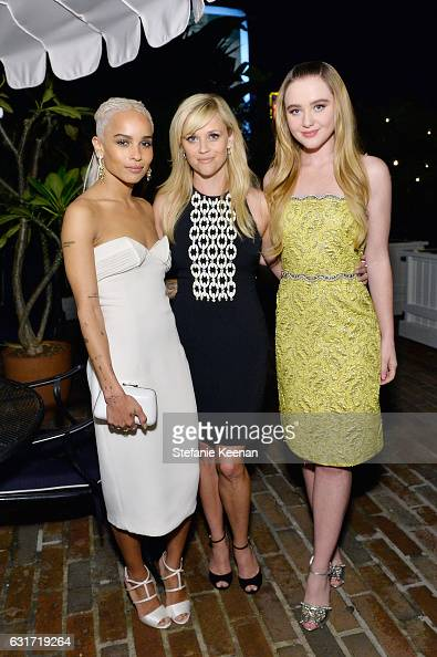 Actresses Zoe Kravitz Reese Witherspoon and Kathryn Newton attend ELLE's Annual Women In Television Celebration 2017 at Chateau Marmont on January 14...