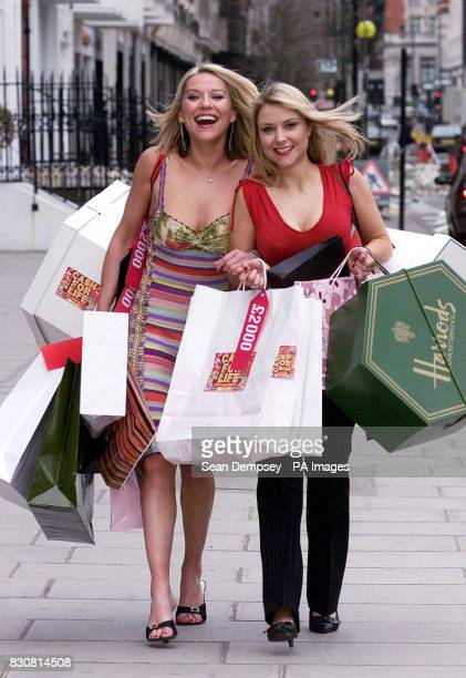 Actresses Zoe Lucker who plays Tanya and Katharine Monaghan who plays Donna in the ITV drama Footballers Wives spend spend spend to mark the launch...