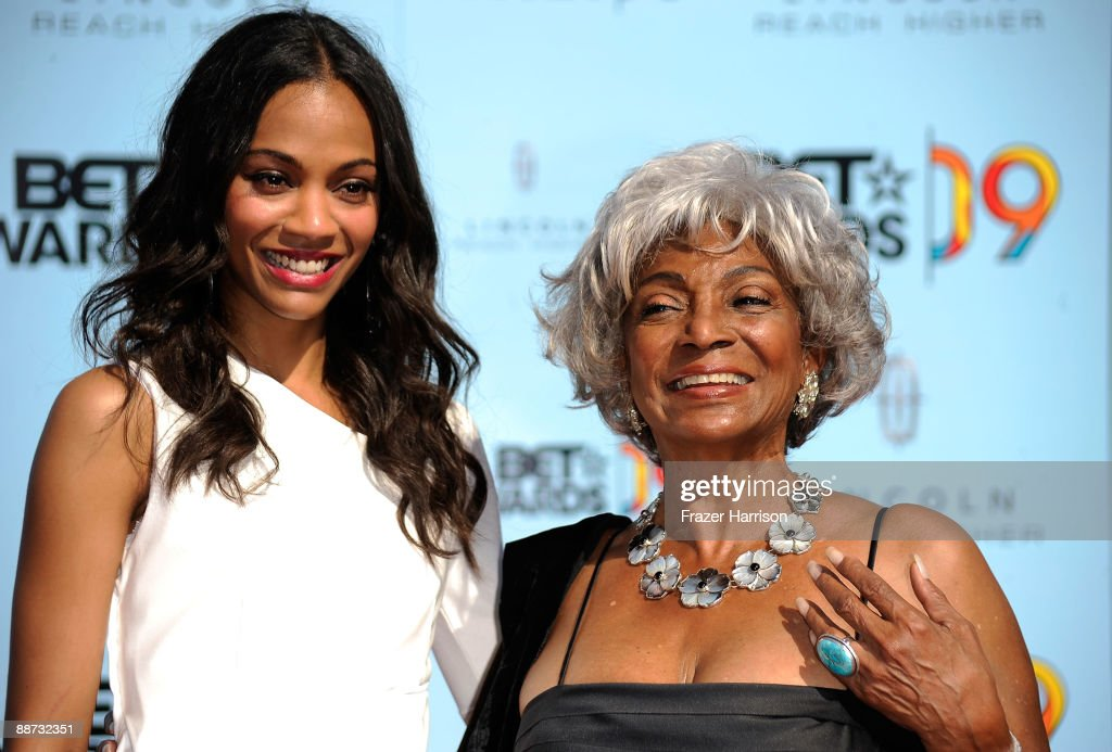 Actresses <a gi-track='captionPersonalityLinkClicked' href=/galleries/search?phrase=Zoe+Saldana&family=editorial&specificpeople=542691 ng-click='$event.stopPropagation()'>Zoe Saldana</a> and Nichelle Nichols arrive at the 2009 BET Awards held at the Shrine Auditorium on June 28, 2009 in Los Angeles, California.