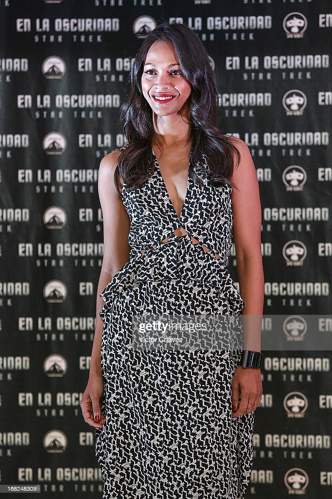 Actresses <a gi-track='captionPersonalityLinkClicked' href=/galleries/search?phrase=Zoe+Saldana&family=editorial&specificpeople=542691 ng-click='$event.stopPropagation()'>Zoe Saldana</a> attends a photocall to promote the new film 'Star Trek Into Darkness' at Four Seasons Hotel on May 7, 2013 in Mexico City, Mexico.
