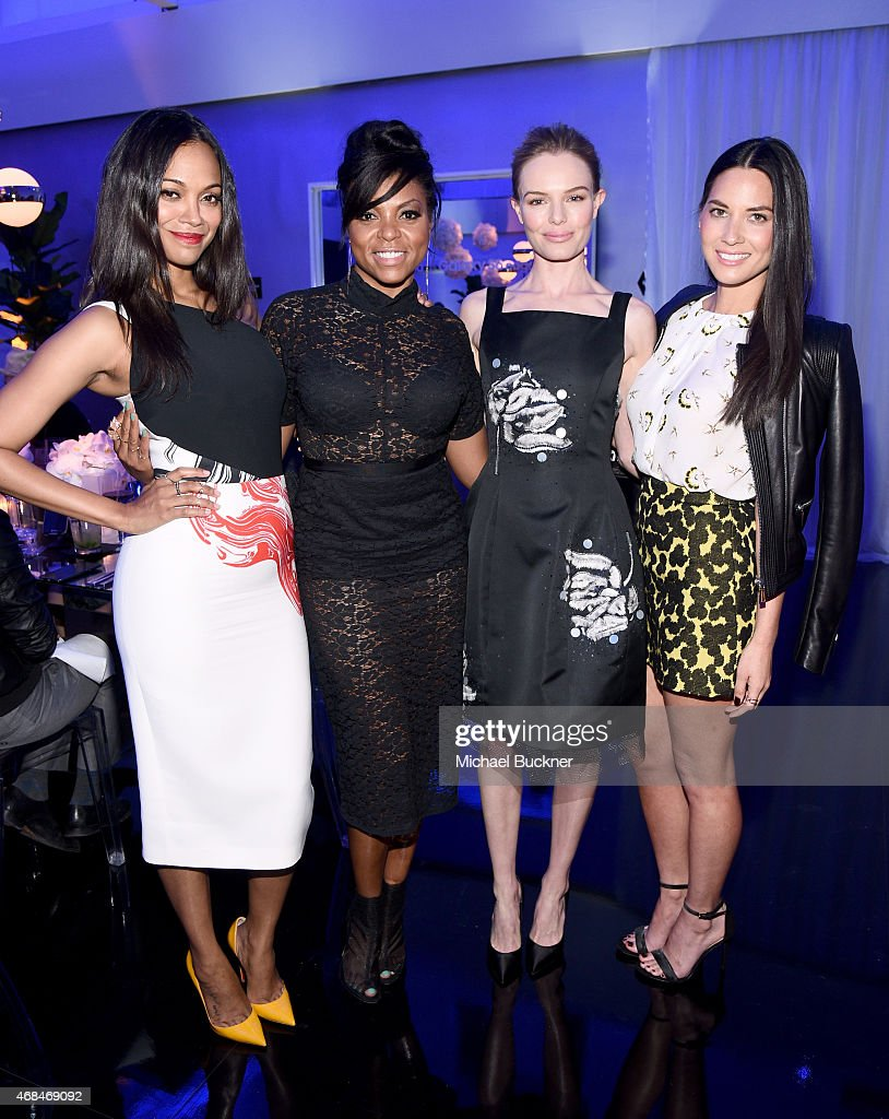 Actresses Zoe Saldana Taraji P Henson Kate Bosworth and Olivia Munn attend the Samsung Galaxy S 6 edge launch on April 2 2015 in Los Angeles...