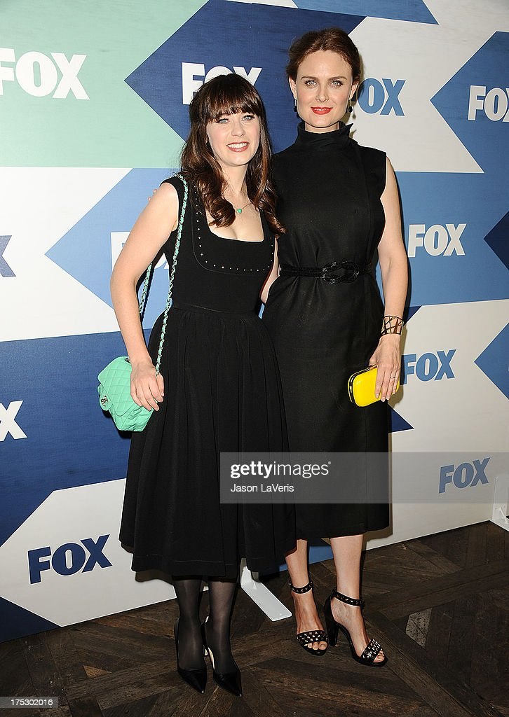 Actresses Zooey Deschanel and Emily Deschanel attend the FOX All-Star Party on August 1, 2013 in West Hollywood, California.