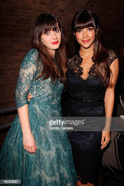 Actresses Zooey Deschanel and Hannah Simone attend Cindi Leive celebrates Glamour Cover Girl Zooey Deschanel at RivaBella on January 28 2013 in West...